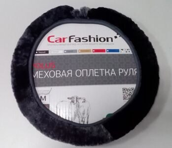 Оплётка из натурального меха «Carfashion» тёмно серая (М)